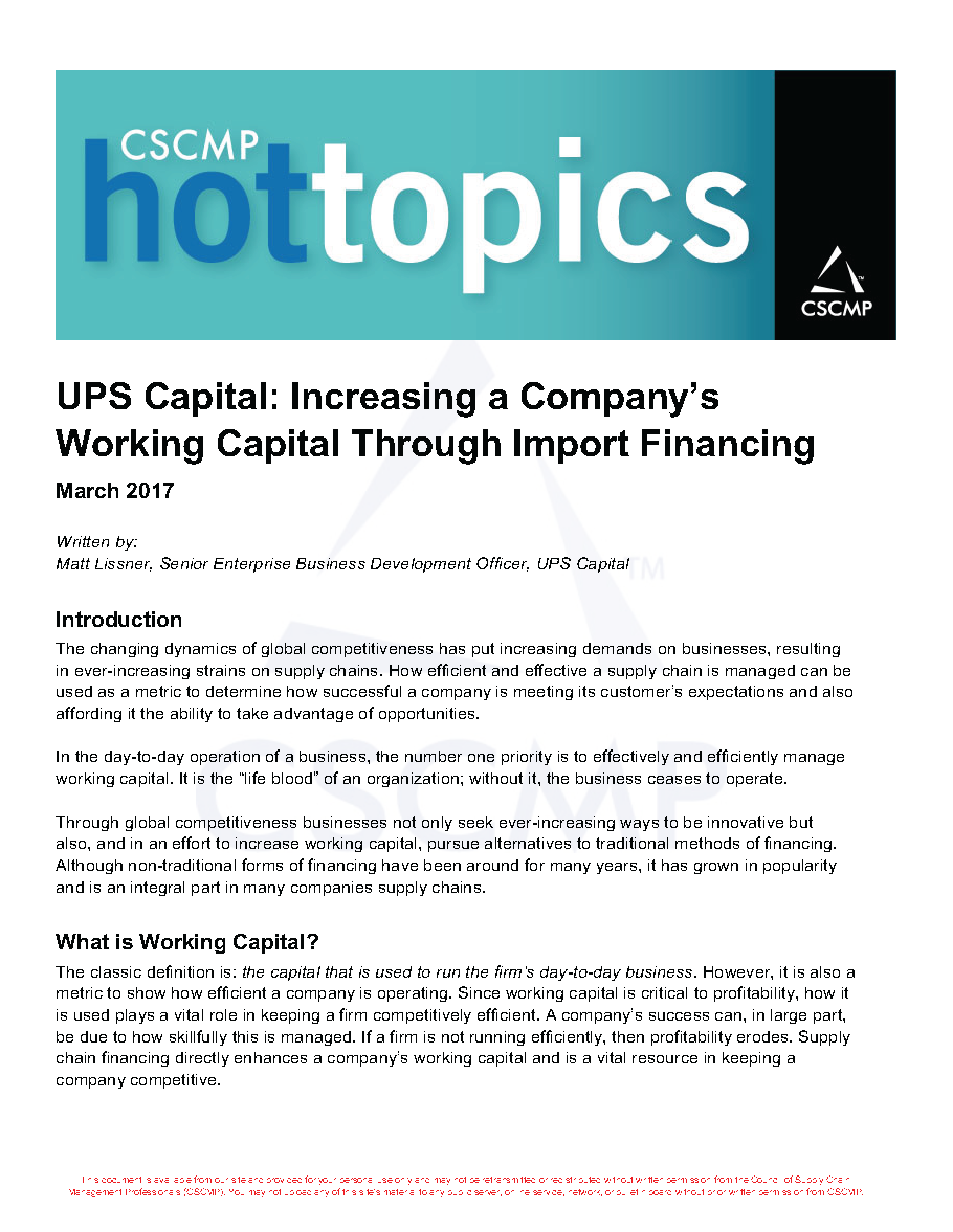 UPS Capital: Increasing Working Capital Through Import